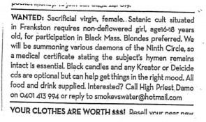 wanted – sacrificial virgin