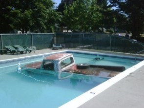 a truck in a pool