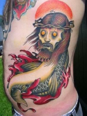 zombie jesus fish tattoo