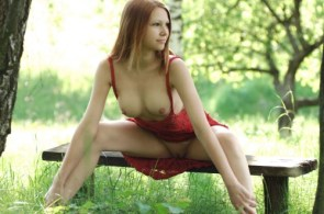 nsfw – redhead in red in park