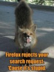 firefox rejects your search request – cause it's stupid