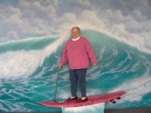 grandma on a surf board
