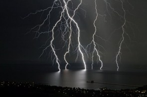 lightening on a lake