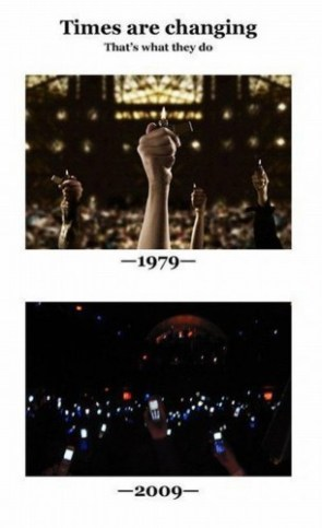 times are changing – lighters vs cellphones