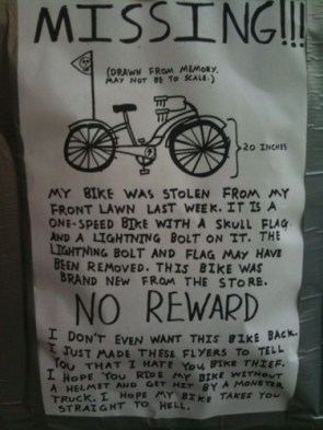 missing – my bike – no reward