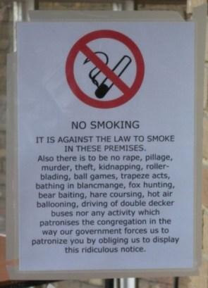no smoking sign with dash of sarcasm