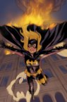 batgirl jumping from a building that is on fire