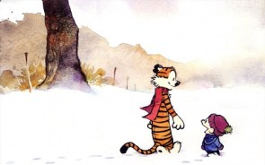 calvin and hobbes walking in the snow