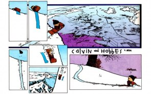calvin imagines a greater snow hill than really exists