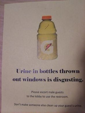 urine in bottles thrown out windows is disgusting