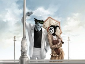 Joker and Harley on a pier