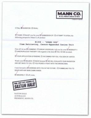 Saxton Hale Letter