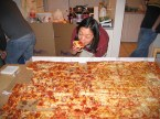 a large pizza being pizza'd