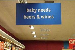 baby needs beers and wines