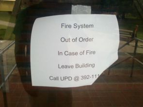 in case of fire, leave building