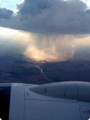 rain clouds from above