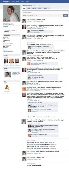 tom joins facebook