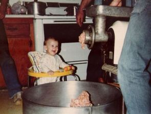 baby likes meat grinder
