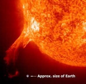 earth vs solar flare
