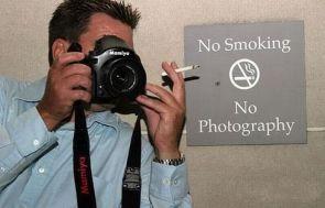 no smoking, no photography