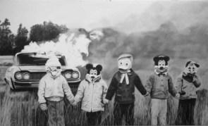 cartoony car fire