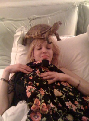 courtney love with turtle on her head