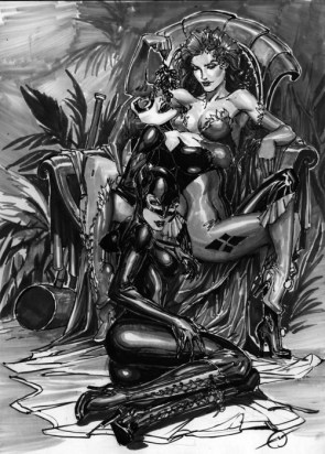 nsfw – harley quinn and poison ivy and catwoman