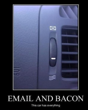email and bacon – this car has everything