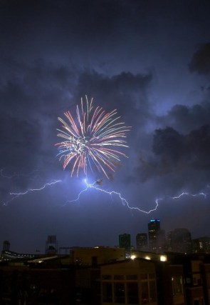 lightening and fireworks