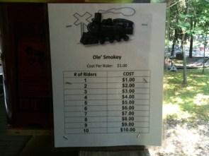 ole' smokey – cost per rider