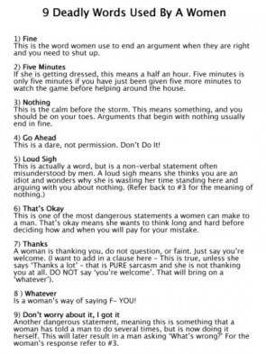 9 deadly words used by a women