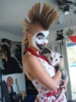 sexy mohawk clown with cat