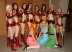 iron man 2 cosplayers with power puff girls