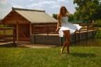 leggy girl in a white dress