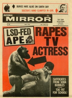 lsd-fed ape rapes TV actress