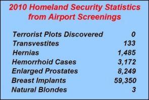 2010 homeland security statistics from airport screenings