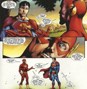 Superman takes a walk with flash