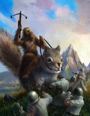 chewy on a giant squirrel fighting nazies