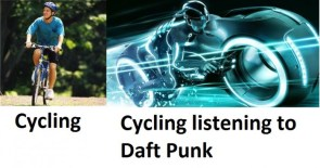 cycling listening to daft punk