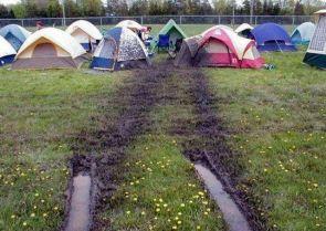 muddy tents
