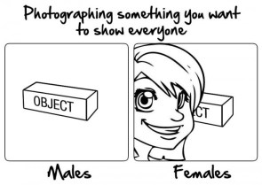 photographing something you want to show everyone – males vs females