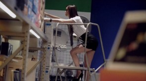 summer glau on a step ladder