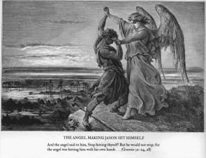 the angel making jason hit himself