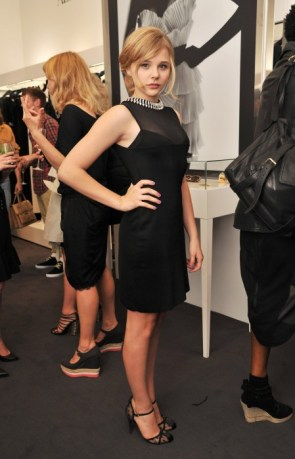 cloe moretz in a sheer black dress