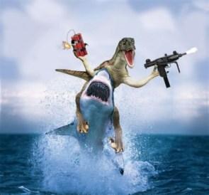 dinosaur on a shark