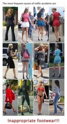 most frequent causes of traffic accidents are inappropriate footwear