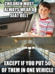children must always wear a seatbelt