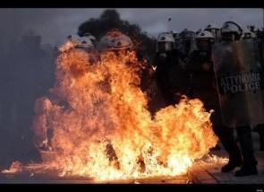 greek police on fire