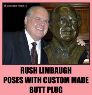 rush limbaugh poses with custom made butt plug