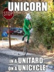 unicorn in a unitard on a unicycle